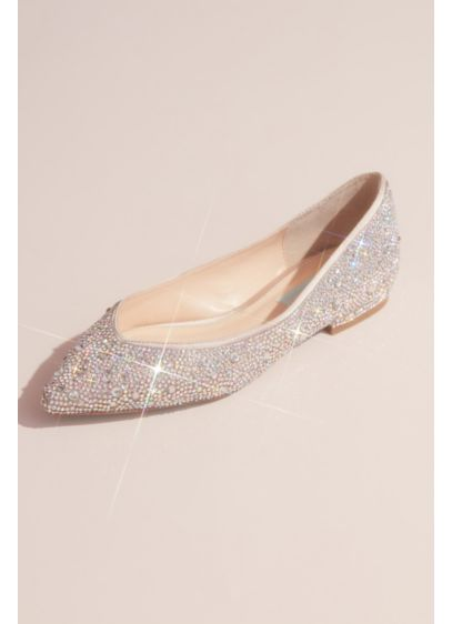 Allover Crystal Almond-Toe Flats - You'll beam with every step wearing these allover