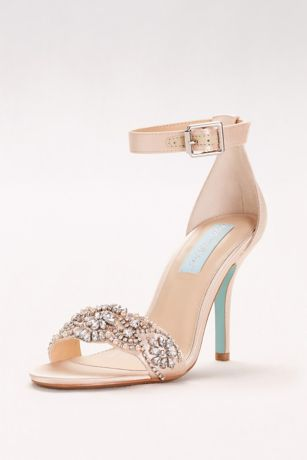 41ef0a50cb6 Blue By Betsey Johnson Grey Ivory Heeled Sandals (Embellished High Heel  Sandals with Ankle