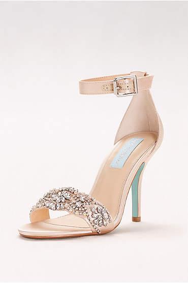 Embellished High Heel Sandals with Ankle Strap