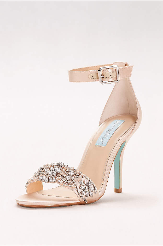 Embellished High Heel Sandals with Ankle Strap - A richly embellished vamp and slim ankle strap