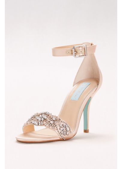 Embellished High Heel Sandals with Ankle Strap - A richly embellished vamp and slim ankle strap