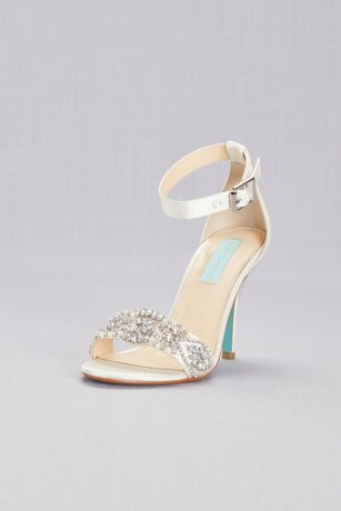 Blue By Betsey Johnson Grey;Ivory Heeled Sandals (Embellished High Heel Sandals with Ankle Strap)