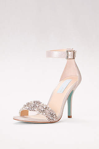 Blue By Betsey Johnson Grey P Toe Shoes Embellished High Heel Sandals With Ankle Strap