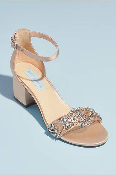 Satin Block Heel Crystal Embellished Sandals