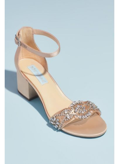 Blue By Betsey Johnson Ivory (Satin Block Heel Crystal Embellished Sandals)