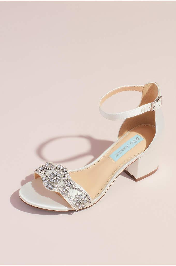Satin Block Heel Crystal Embellished Sandals