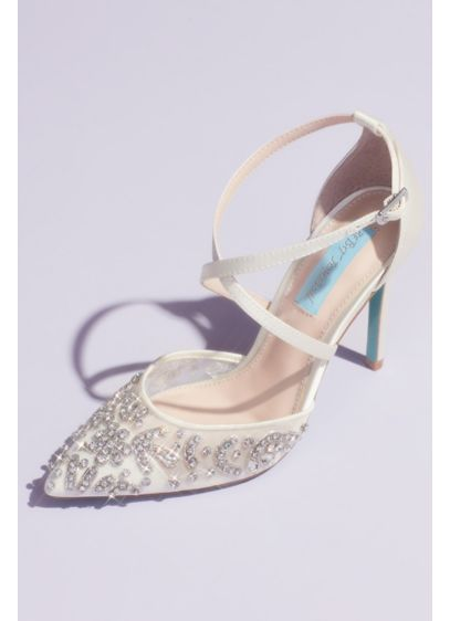Blue By Betsey Johnson Ivory (Crossing Straps Crystal Embellished Stiletto Heels)