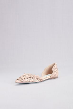 """Blue By Betsey Johnson Ivory Ballet Flats (Embellished Floral Cutout d""""Orsay Flats)"""