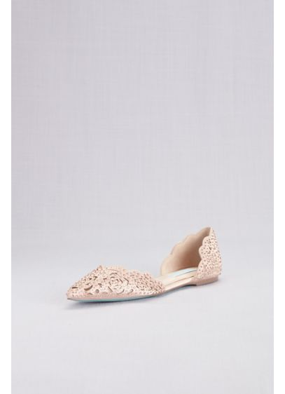 Embellished Floral Cutout d'Orsay Flats - Floral cutouts adorned with gems create this elegant,