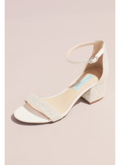 Blue By Betsey Johnson Beige (Allover Embellished Iridescent Block Heel Sandals)