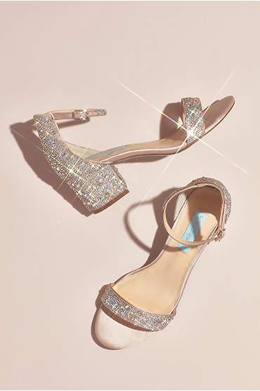 Allover Embellished Iridescent Block Heel Sandals