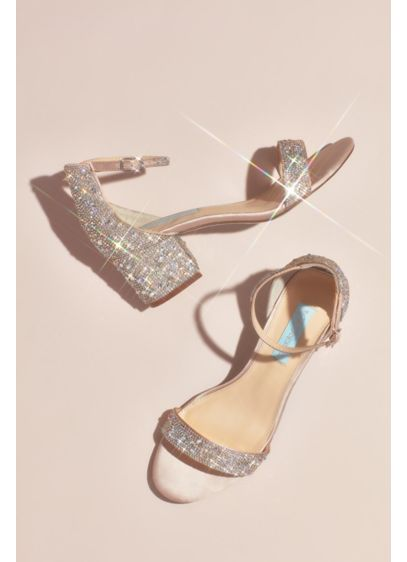 Blue By Betsey Johnson Beige (Block Heel Sandals with Allover Gem Embellishment)