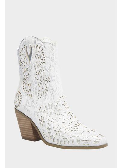 Betsey Johnson White (Faux Snake Print Metallic Cutout Cowboy Booties)