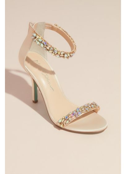 Pear-Cut Crystal Mosaic Two-Strap Heels - The straps of these sleek heels are scattered