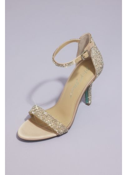 Jeweled Metallic Stiletto Sandals - Embellishments of all different shapes and sizes adorn