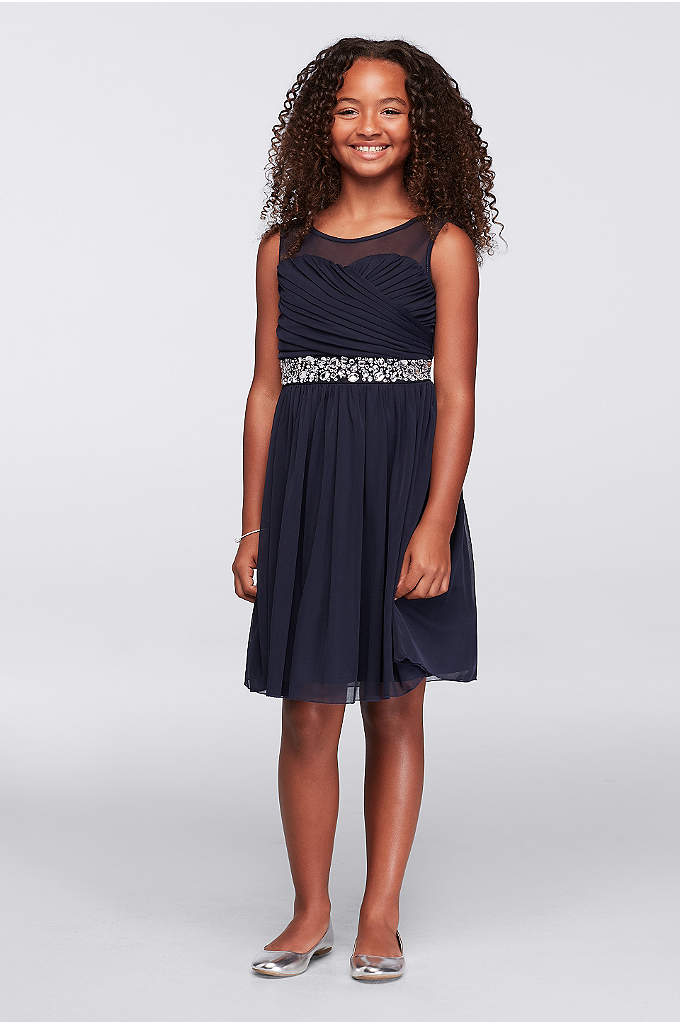 Illusion Neckline Party Dress with Jeweled Waist - Little ladies will feel so special in this
