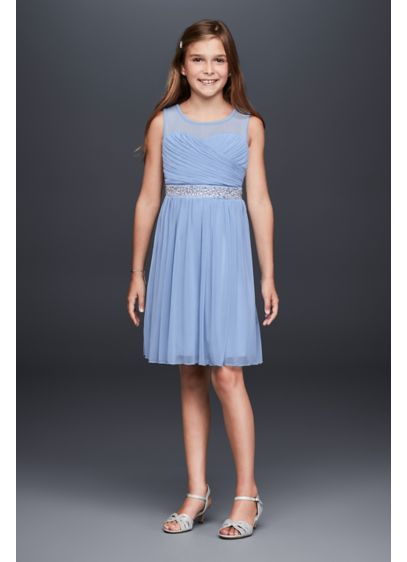 02527ee0221 Ruched Illusion Mesh Girls Dress with Gem Belt | David's Bridal
