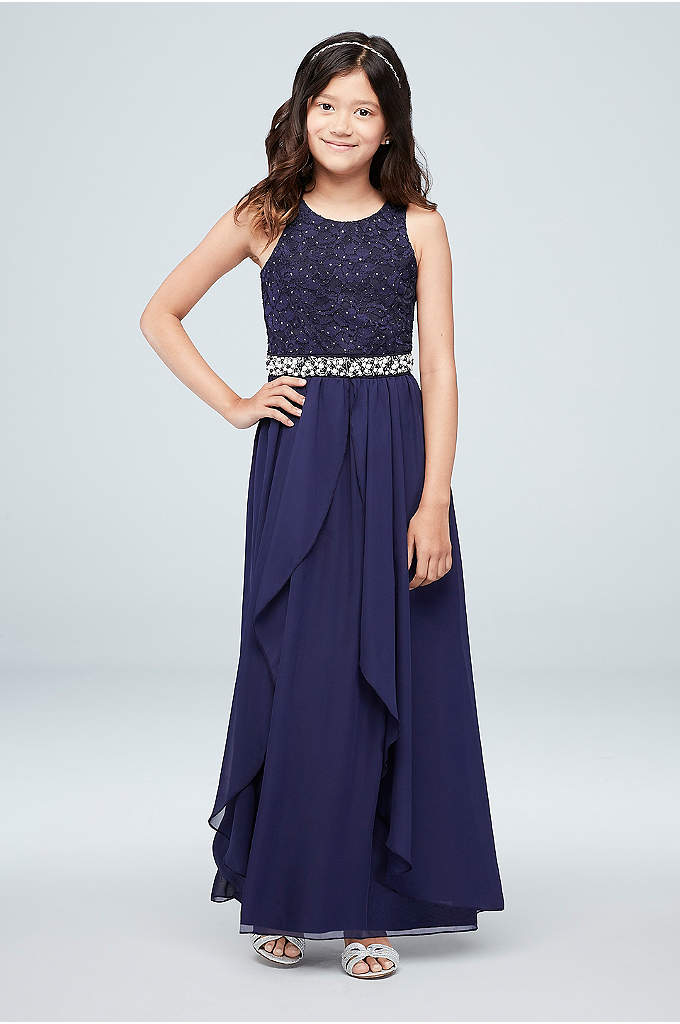 Girls Glitter Lace Maxi Dress with Jeweled Waist - A jeweled waistline and cascading ruffles are the