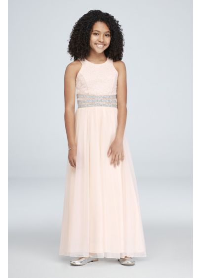 Girls Gem Waist Lace and Jersey Maxi Dress - This floor-length lace and jersey junior bridesmaid dress