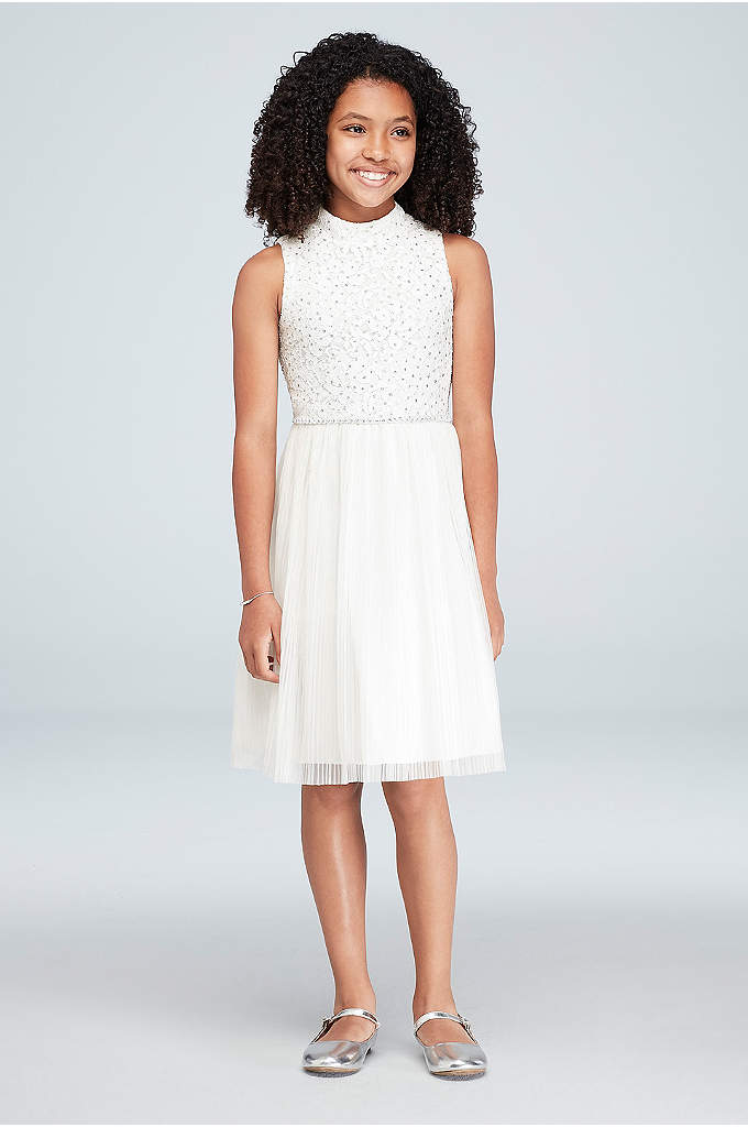 Girls High-Neck Glitter Lace Pleated Dress - Perfect for a junior bridesmaid or a youthful