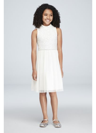 Girls High Neck Glitter Lace Pleated Dress Davids Bridal