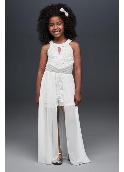 Lace Flower Girl Romper with Sheer Overskirt - The perfect choice for fashionable flower girls, this