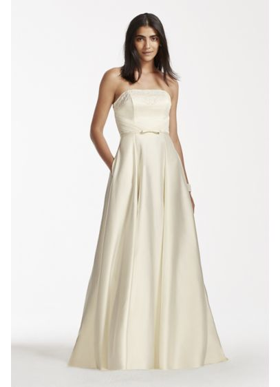 Strapless Satin Aline Gown with Pockets | David\'s Bridal