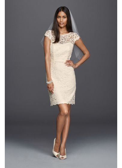 db9131d8013 Lace Cap Sleeve Short Wedding Dress. SDWG0395. Short Sheath Beach Wedding  Dress - DB Studio