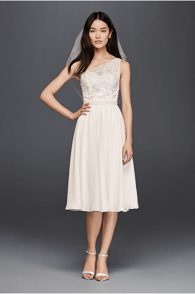 One Shoulder Short Lace Dress - Slip on this one-shoulder lace dress for your