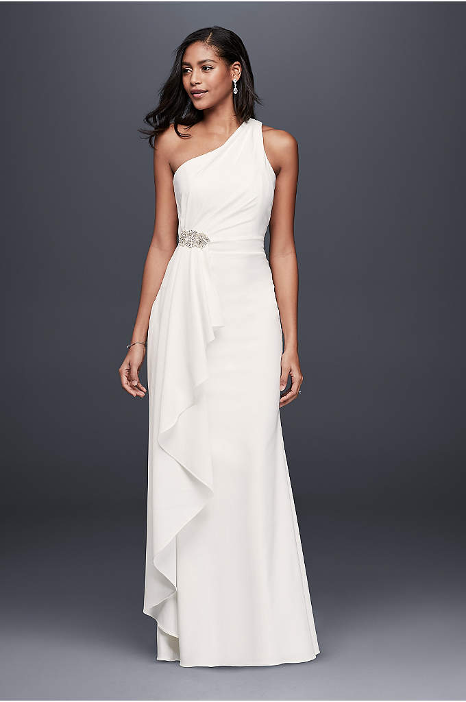 One-Shoulder Sheath Dress with Crystal Detail - The perfect dress for a beach wedding, this