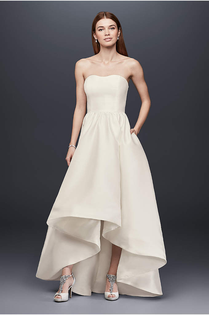 Mikado High-Low Wedding Dress - This lustrous mikado wedding gown is the epitome