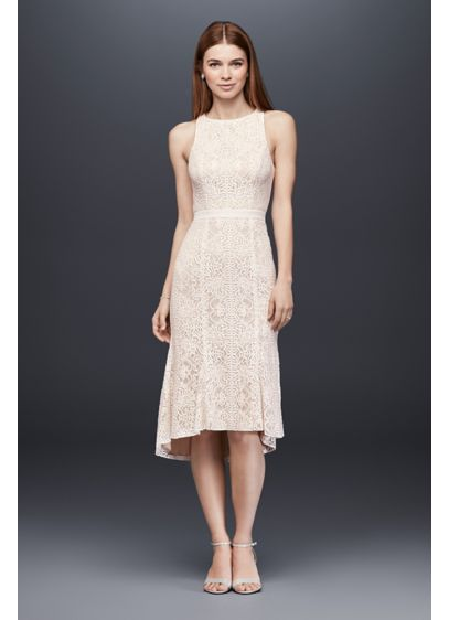 Knee-Length Lace Sheath Dress with Flounce Hem - Slim, sleek, and perfect for dancing the night