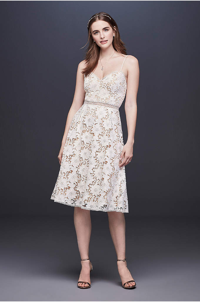 Short Lace Wedding Dress with Illusion Waist - This short wedding dress features large-scale cut-out Venise
