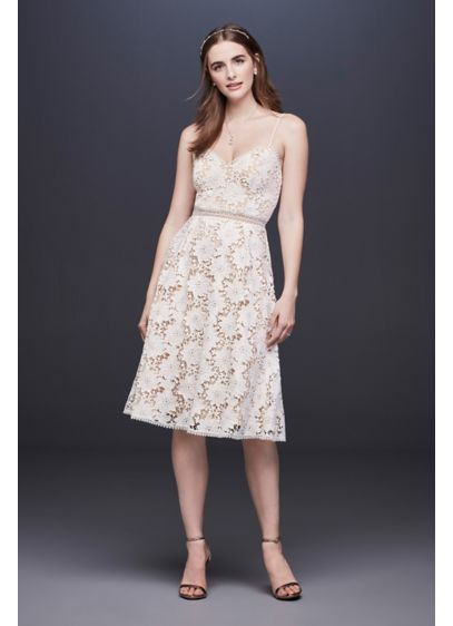 Short Lace Wedding Dress With Illusion