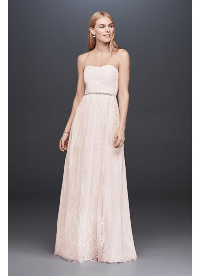 Soft Floral Lace Sheath Gown with Blush Lining - Soft and simple, the fanned floral details of
