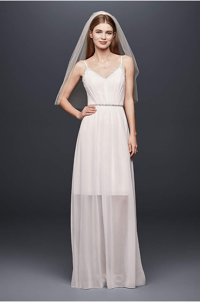 Pleated Chiffon Gown with Ribbon Straps and Lace - Delicate and soft, this light and flowing chiffon