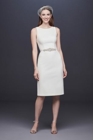 Short Stretch Crepe Wedding Dress with Beaded Belt | David's Bridal | Tuggl