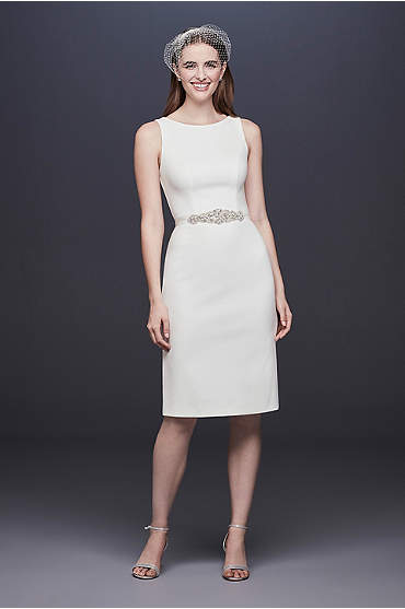 Short Stretch Crepe Wedding Dress with Beaded Belt