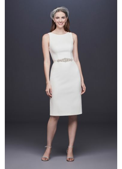 Short Stretch Crepe Wedding Dress With Beaded Belt David S