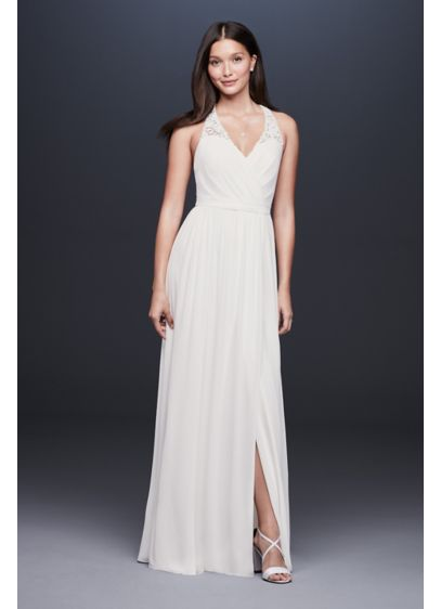 Lace Racerback Chiffon Halter Gown - The sporty racerback goes romantic: Made of illusion-backed