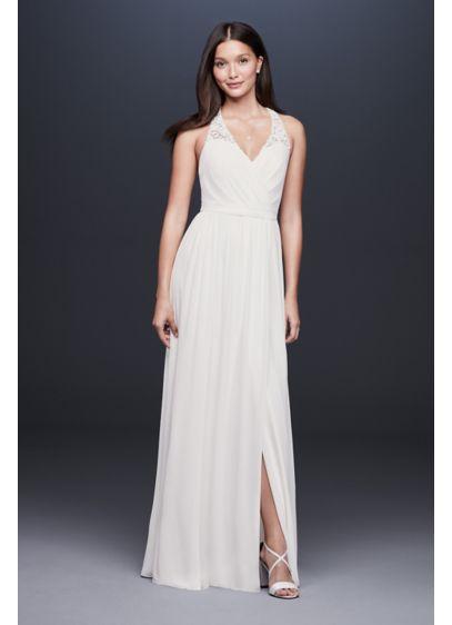 52049c37fac66 Lace Racerback Chiffon Halter Gown | David's Bridal