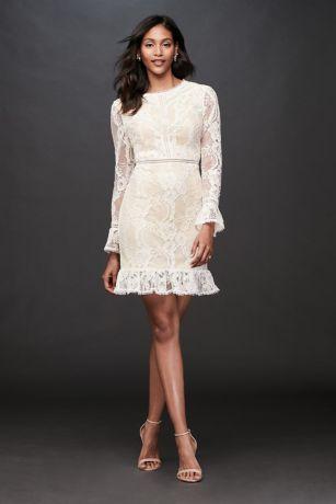 Short Sheath Long Sleeves Dress - David's Bridal