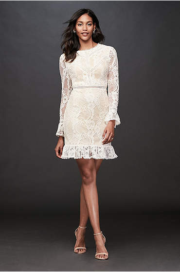 Lace Illusion Short Dress with Flounce Trim