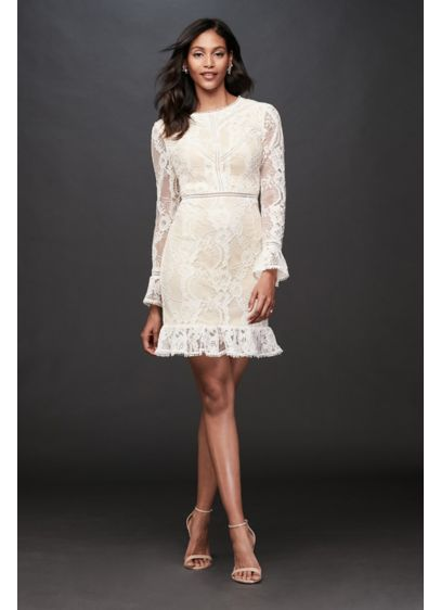 Lace Illusion Short Dress with Flounce Trim - Geometric lace covers the sleeves and flounced hem