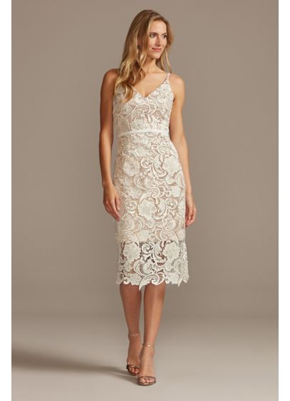 Crochet Lace Overlay Midi Spaghetti Strap Dress - This lace crochet v-neckline midi will fill any