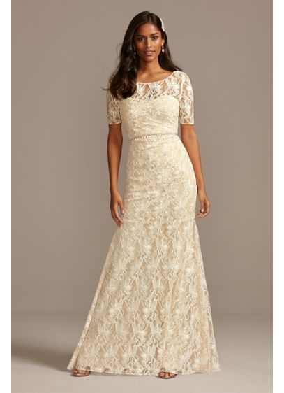 Illusion Sleeve Sweetheart Allover LaceDress - A sheath silhouette with a sweetheart neckline sits