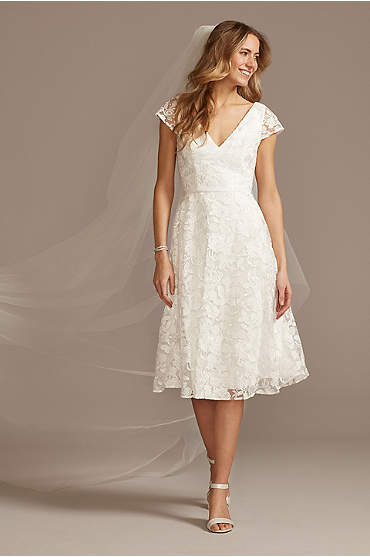 V-Neck Embroidered Lace Cap Sleeve A-Line Dress