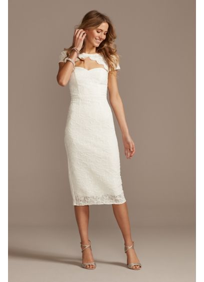 Cap Sleeve Lace Dress with Scalloped Keyhole - With a scalloped cutout and a sleek column