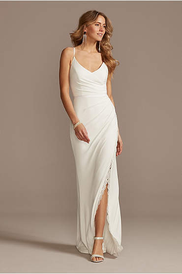 Ruched Spaghetti Strap Jersey Dress with Lace Slit