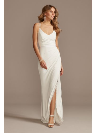 Ruched Spaghetti Strap Jersey Dress with Lace Slit - Sleek, simple, and sexy, this slinky stretch jersey